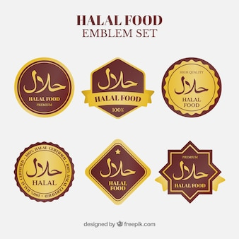 ゴールデンスタイルのハラール食品ラベルコレクション