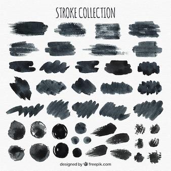 黒の水彩ストロークコレクション