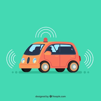 フラットデザインの未来的自律自動車