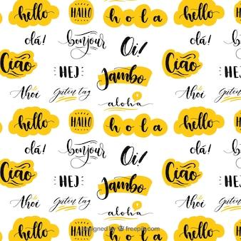 こんにちは言葉を使った手描きのパターン