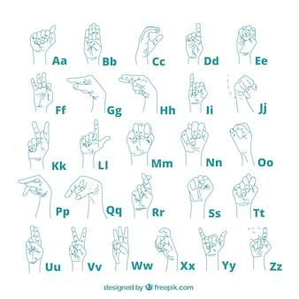 手書き手話アルファベット