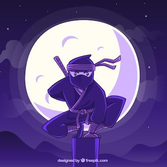 手描きの忍者の戦士の背景