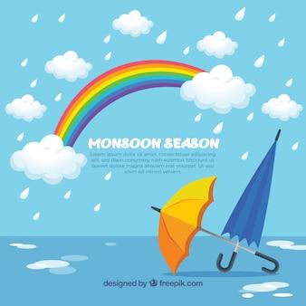Фон сезона муссонов с зонтиками