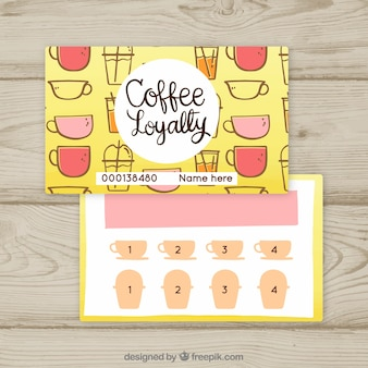 コーヒークーポン付きのロイヤリティカードテンプレート