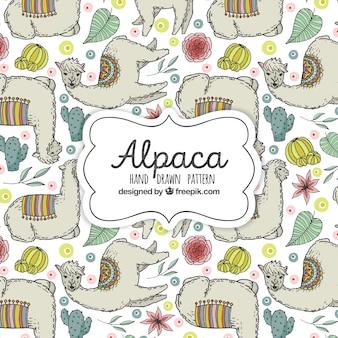 かわいいアルパカのパターン植物