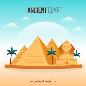 Древняя египетская композиция с плоской конструкцией