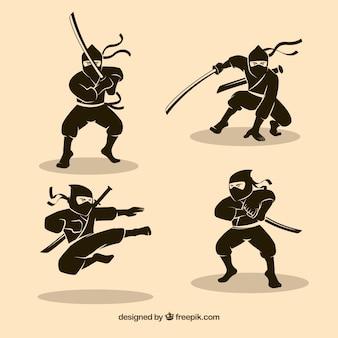 手描きの伝統的な忍者キャラクターのセット