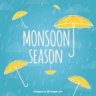 Композиция муссонного сезона с ручным рисунком