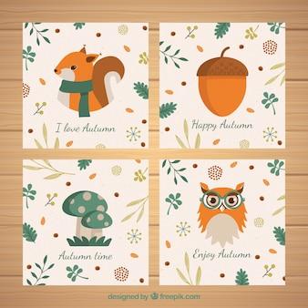 平らなデザインの秋のカードコレクション