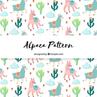 Симпатичный шаблон альпаки с природой