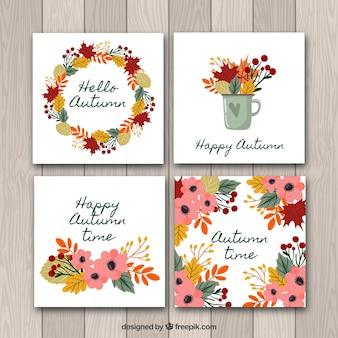 カラフルな葉と花の秋のカードコレクション
