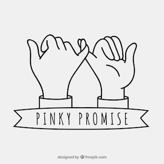 手描きのピンクの約束の組成