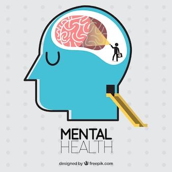 Состав психического здоровья с плоской конструкцией