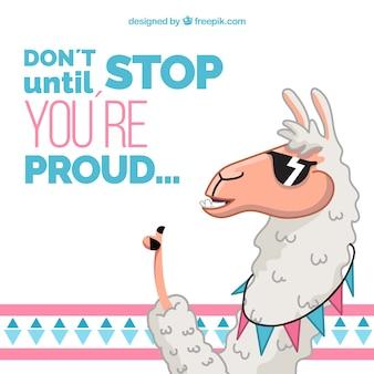 Симпатичная альпака с цитатой