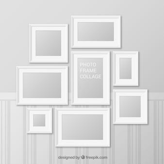 現実的なデザインのホワイトフォトフレームコラージュ