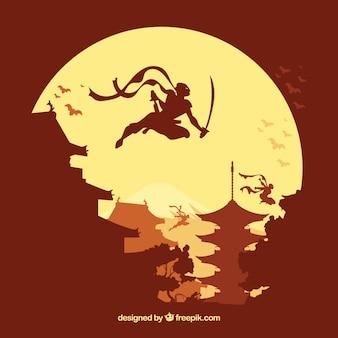 平面デザインの忍者の戦士の背景
