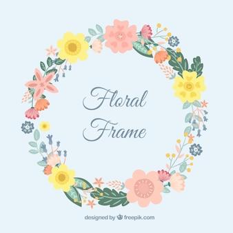 Элегантная цветочная рамка с плоским дизайном