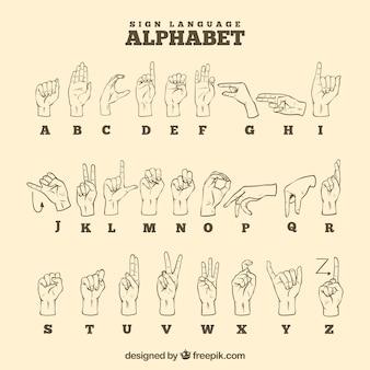手描きのスタイルで手話アルファベット