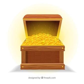 現実的なデザインの古い宝箱