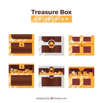 フラットデザインの古い宝箱コレクション