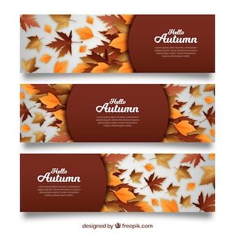 現実的なデザインの秋のバナーコレクション