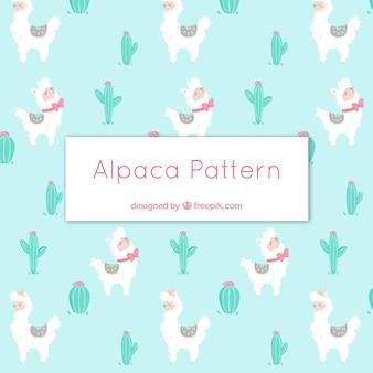 自然とかわいいアルパカのパターン