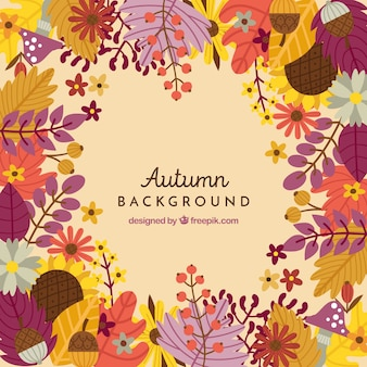 Осенний фон с разноцветными листьями