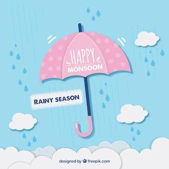 Фон сезона муссонов с зонтиком