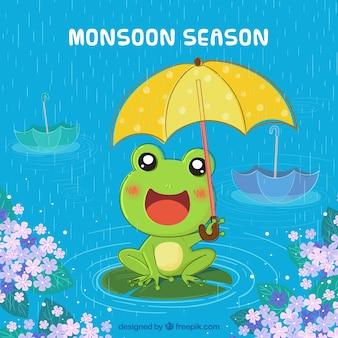 モンスーンの季節の背景とカエル