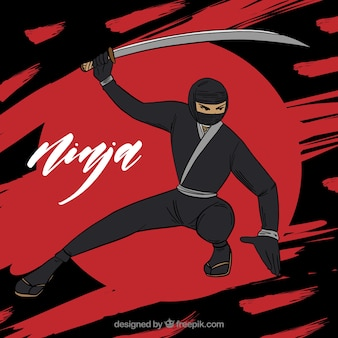 Рисованной ниндзя воин фон