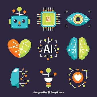 フラットスタイルの人工知能要素コレクション