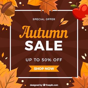 フラットデザインの素敵な秋の販売コンポジション