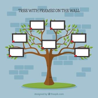 壁に写真フレームが付いているフラットツリー