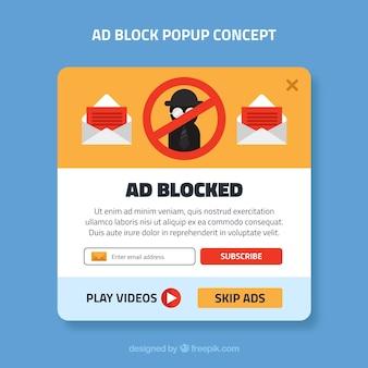フラットデザインの広告ブロックのポップアップコンセプト