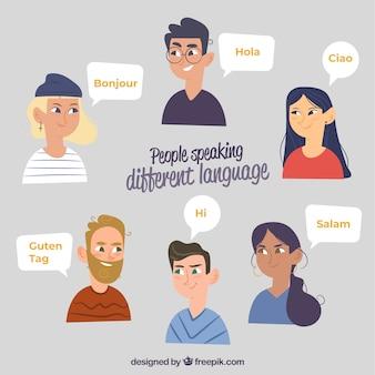 Смайлики, говорящие на разных языках с плоским дизайном