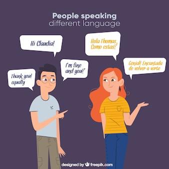 フラットなデザインでさまざまな言語を話す笑顔の人々
