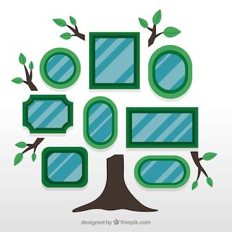 壁にフレームを持つフラットツリー