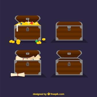 フラットデザインの木製宝箱コレクション