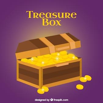 フラットデザインの木製の宝箱