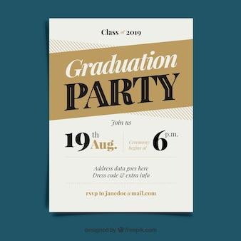 フラットデザインのクラシック卒業招待状