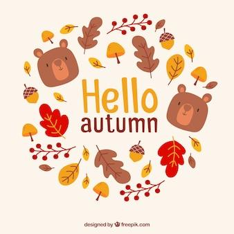 素敵な手が秋の背景を描いた