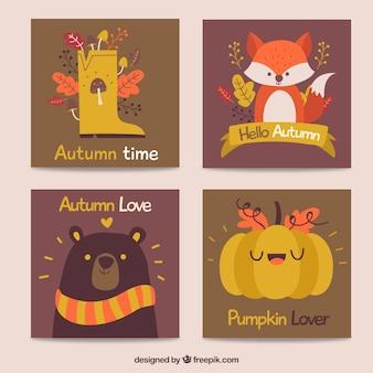 平らなデザインの素敵な秋のカードコレクション