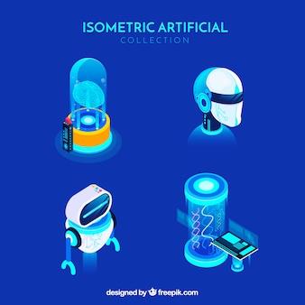 アイソメトリックスタイルの人工知能要素コレクション