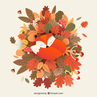 かわいいキツネと秋の背景