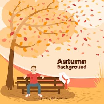 フラットデザインの美しい秋の背景