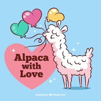 Симпатичный альпака фон с цитатой