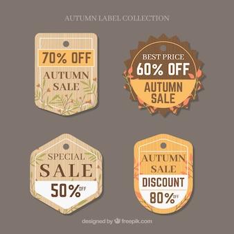 フラットスタイルの秋の販売ラベルコレクション