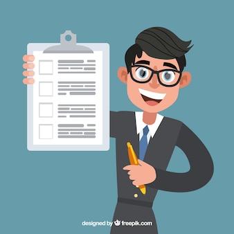 Плоский продавец с контрактным документом