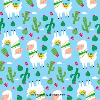 かわいいアルパカの植物パターン