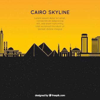 カイロのスカイラインと手描きの作曲